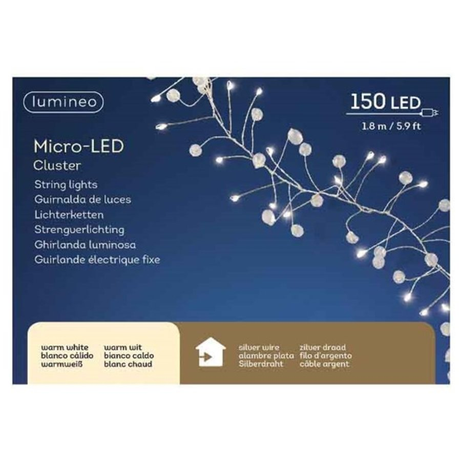 micro LED parelverlichting - silver wire - Warm Wit-2