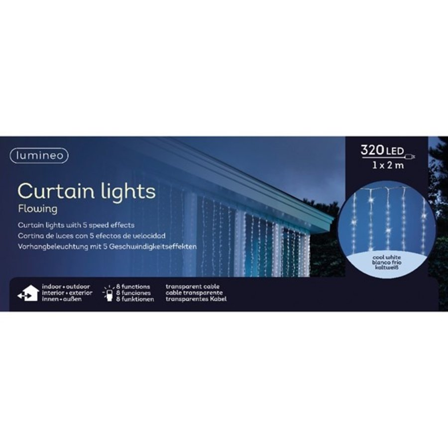 LED waterval gordijnverlichting - transparant - Koel Wit-2