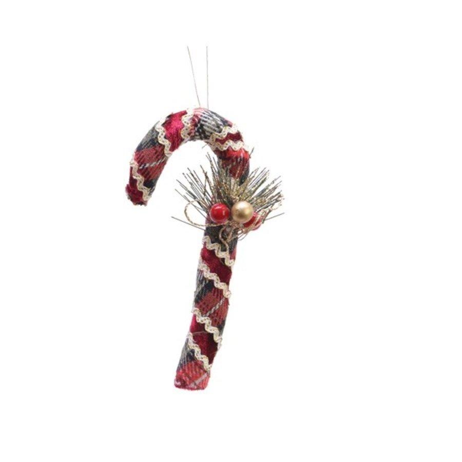 Zuurstok fluweel, 15cm, rood-1