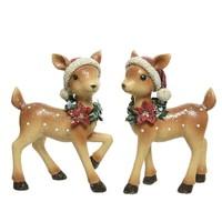 Hert poly met kerstmuts, 20cm