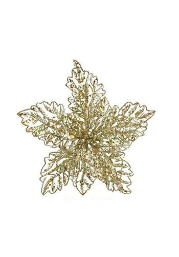 Decoris Poinsettia op clip, goud