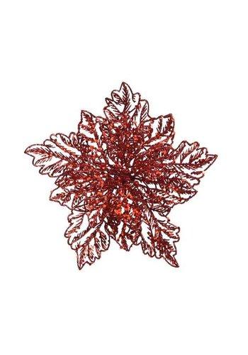 Decoris Poinsettia op clip, rood