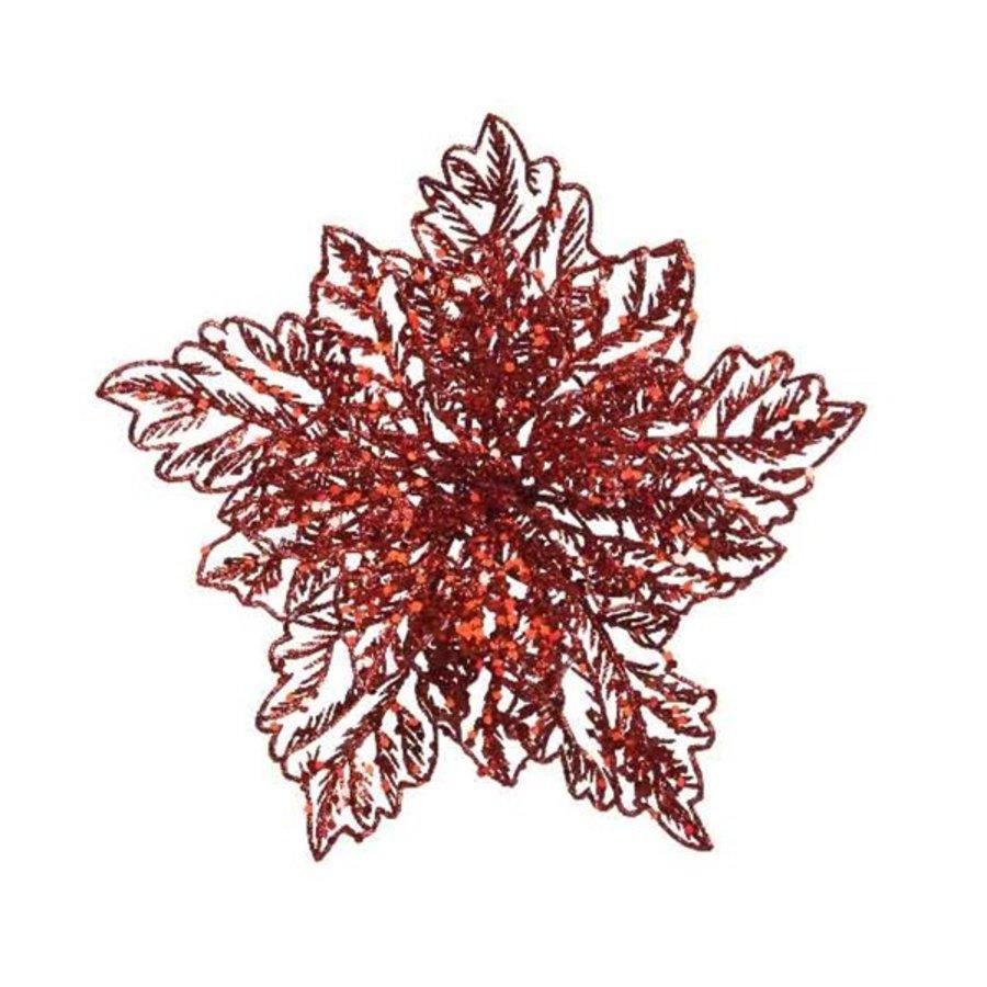 Poinsettia op clip, rood-1