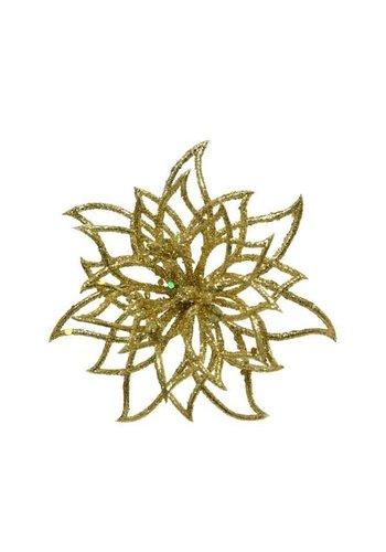 Decoris Bloem op clip, goud met glitter finish