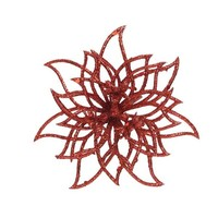 Bloem op clip, rood met glitter finish