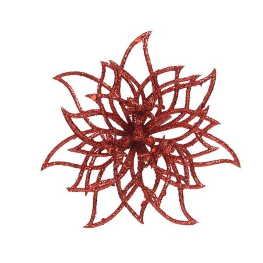 Bloem op clip, rood met glitter finish-1