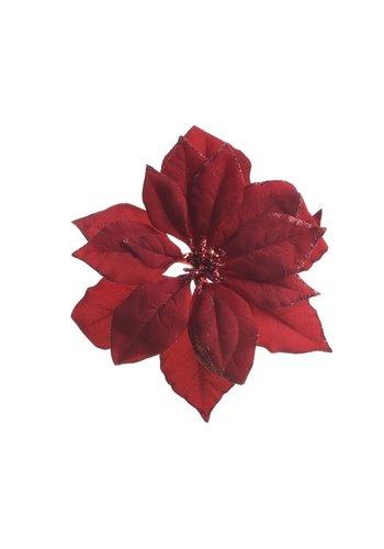 Decoris Poinsettia op clip, bordeaux