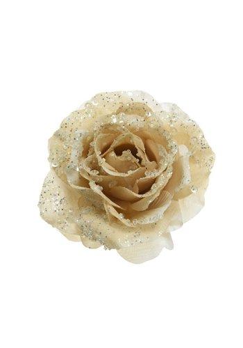 Decoris Roos op clip met glitter, 14cm, creme