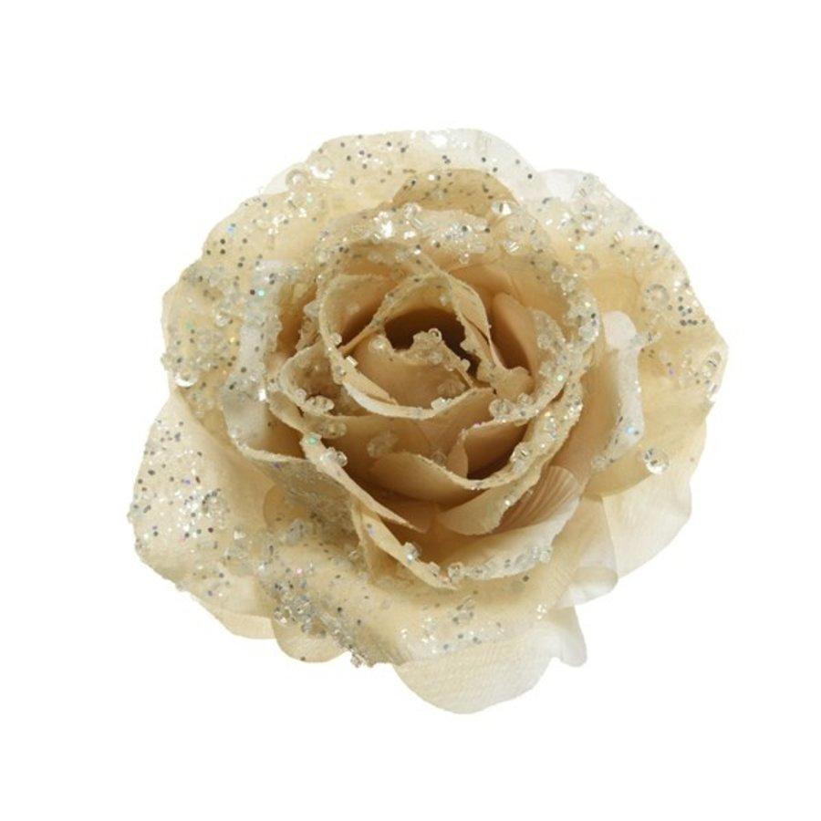 Roos op clip met glitter, 14cm, creme-1