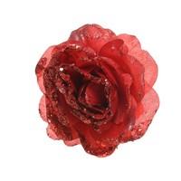 Roos op clip met glitter, 14cm, kerstrood
