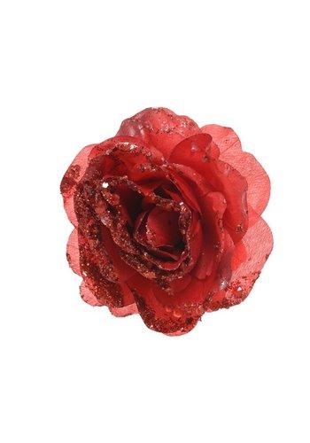Decoris Roos op clip met glitter, 14cm, kerstrood