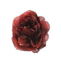 Roos op clip met glitter, 14cm, oxblood