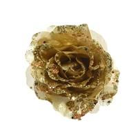Roos op clip met glitter, 14cm, goud