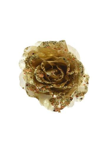 Decoris Roos op clip met glitter, 14cm, goud