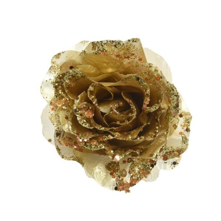 Roos op clip met glitter, 14cm, goud-1