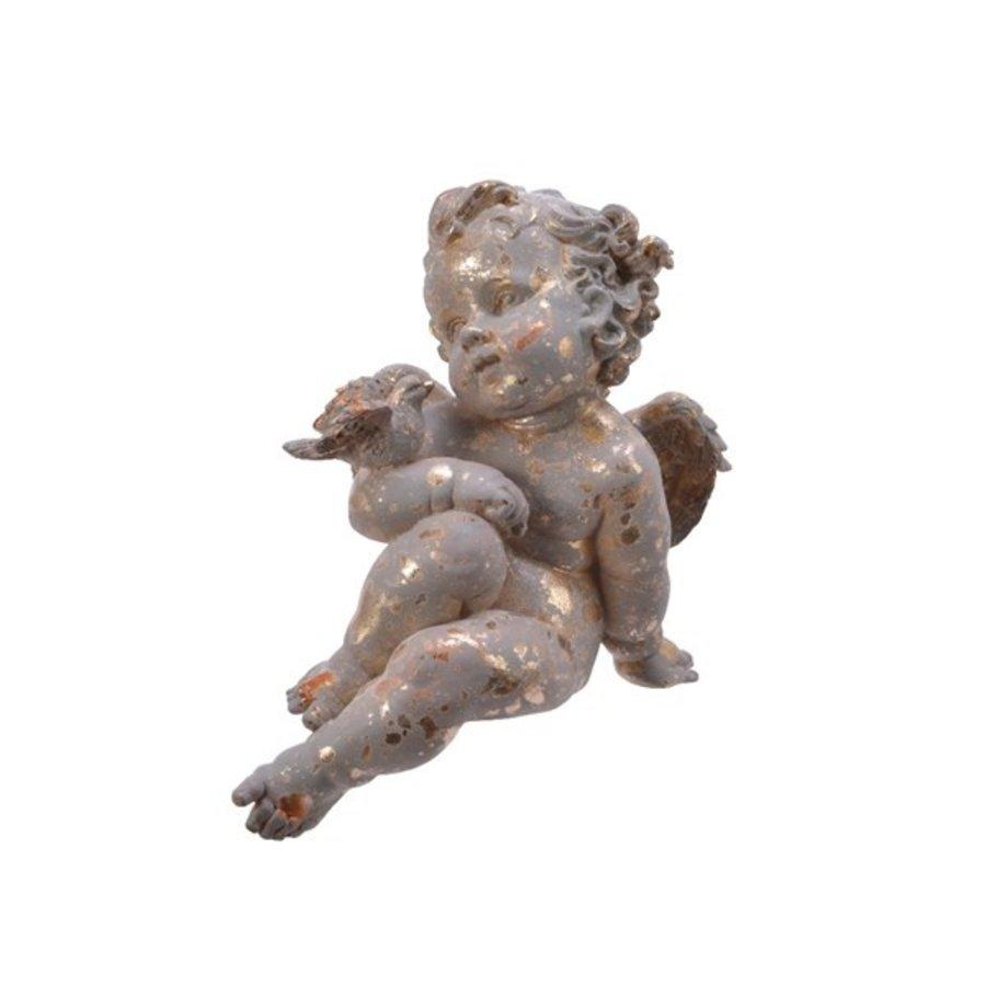 Engel poly zittend, goud-1