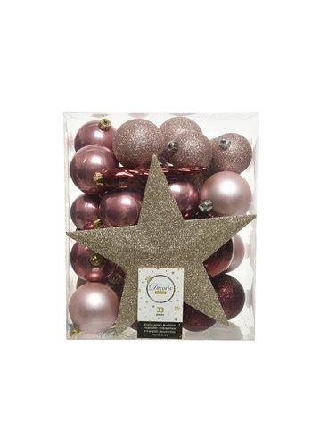 Decoris Set/33 onbreekbare kerstballen + piek Pink Forest