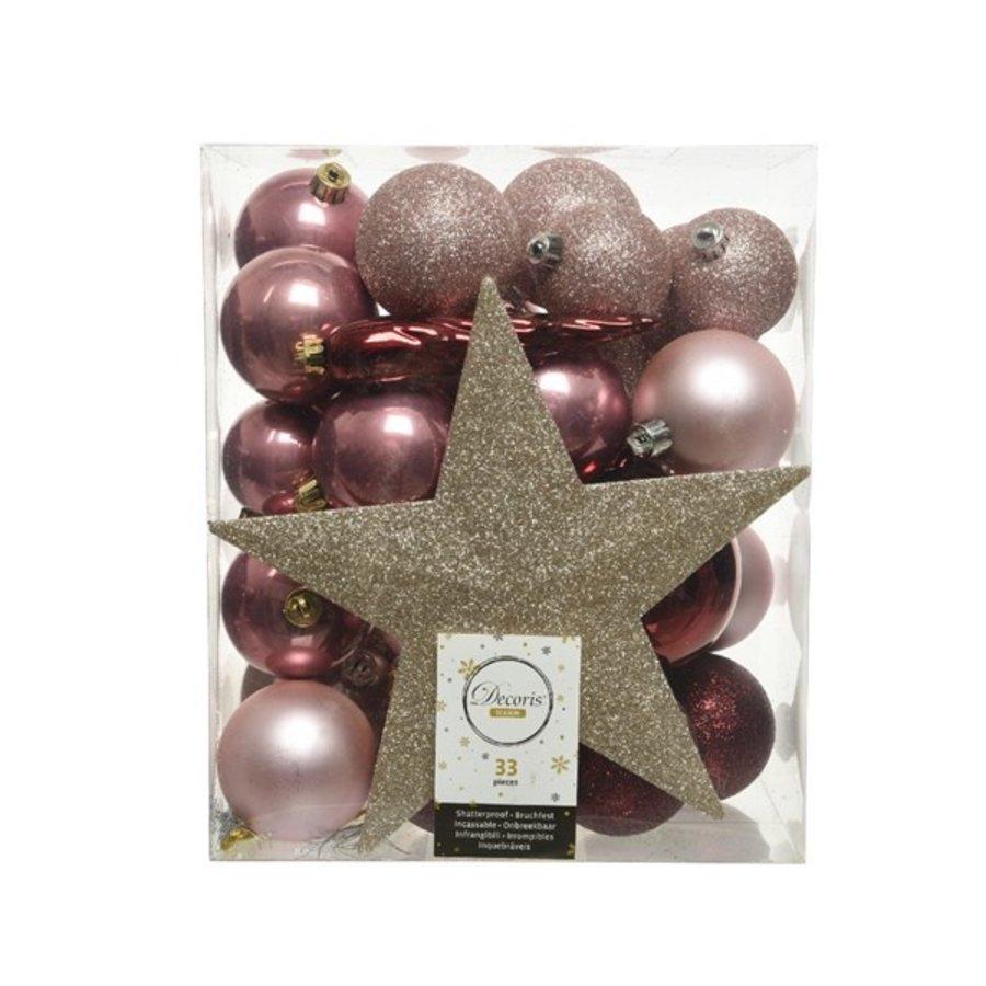 Set/33 onbreekbare kerstballen + piek Pink Forest-1