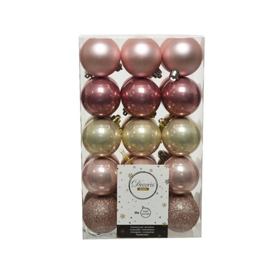 Set/30 onbreekbare kerstballen dia 6cm mix Pink Forest-1