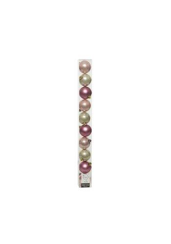 Decoris Set/10 onbreekbare kerstballen dia 6cm Pink Forest