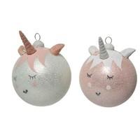 Kerstbal glas eenhoorn dia 8cm