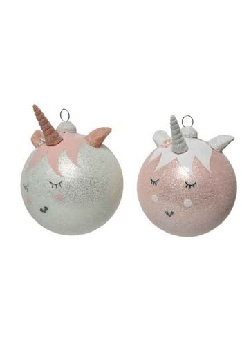 Decoris Kerstbal glas eenhoorn dia 8cm