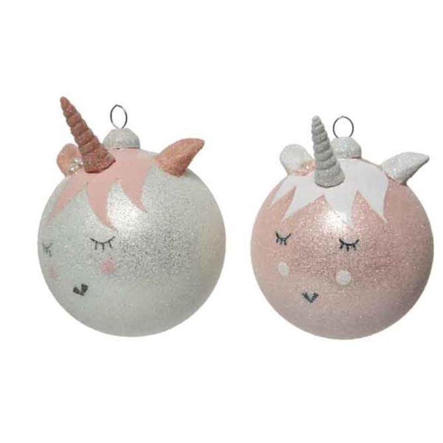 Kerstbal glas eenhoorn dia 8cm-1