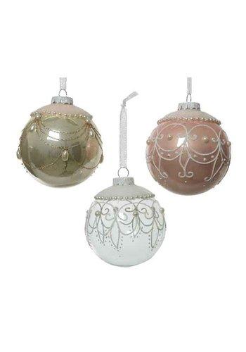 Decoris Kerstbal glas fluweel dia 8cm
