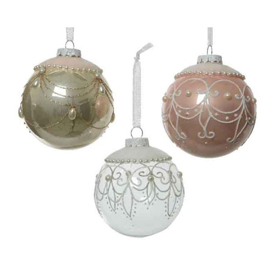 Kerstbal glas fluweel dia 8cm-1