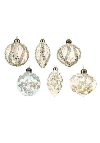 Decoris Glazen ornament deco glitter dia 8cm