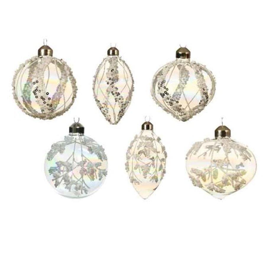 Glazen ornament deco glitter dia 8cm-1