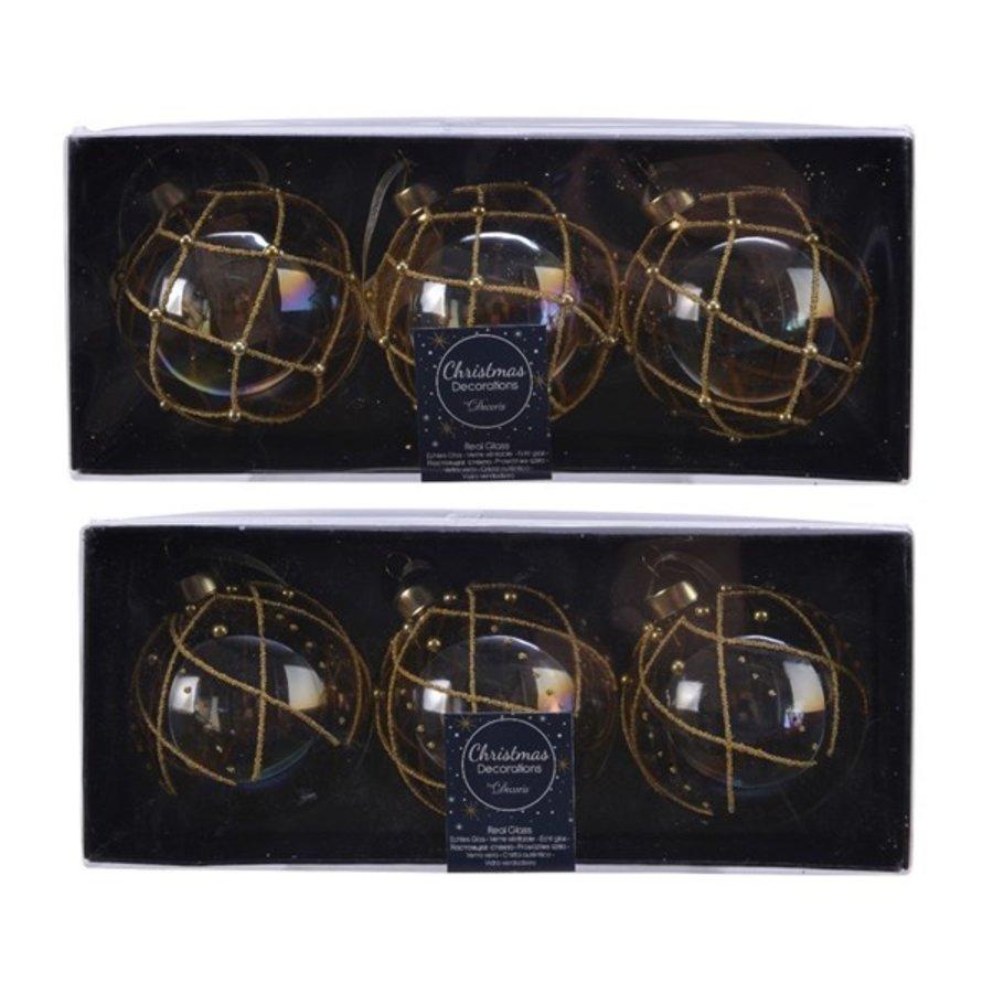 Set/3 glazen kerstballen dia 8cm transparant bewerkt-2
