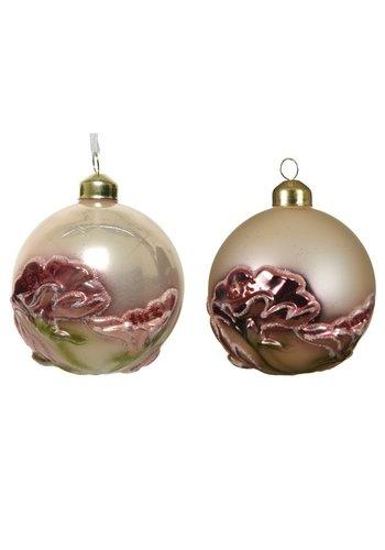 Decoris Glazen kerstbal met bloem dia 8cm