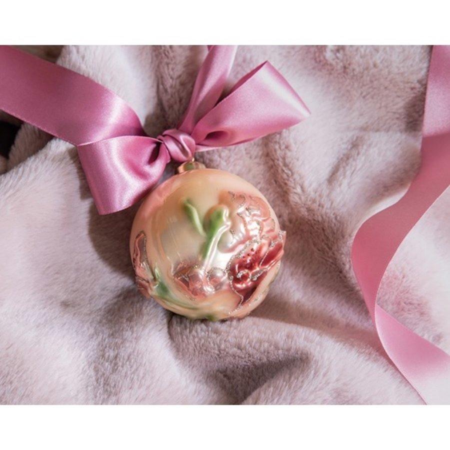 Glazen kerstbal met bloem dia 8cm-2