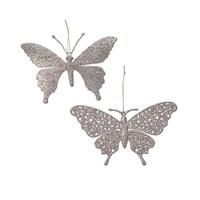 Vlinder plastic met hanger, parelkleur
