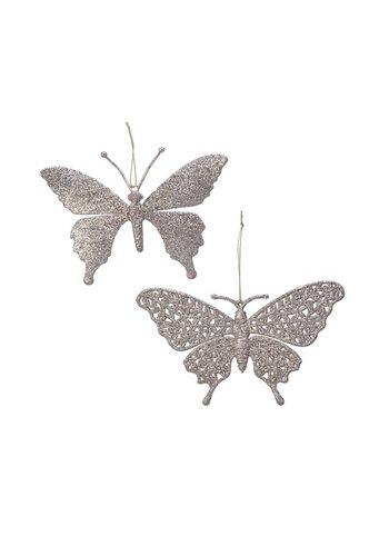 Decoris Vlinder plastic met hanger, parelkleur