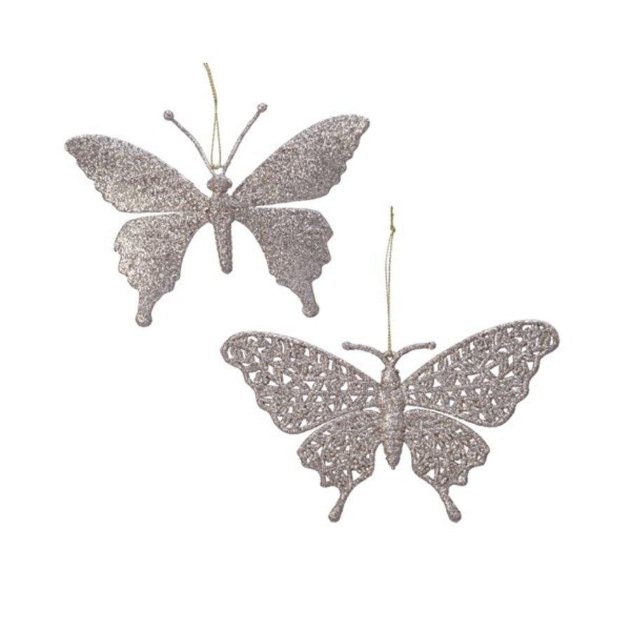 Vlinder plastic met hanger, parelkleur-1