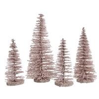 Set/4 bomen plastic glitter poederroze