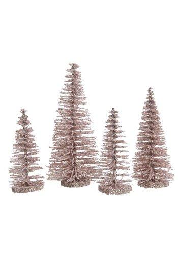 Decoris Set/4 bomen plastic glitter poederroze