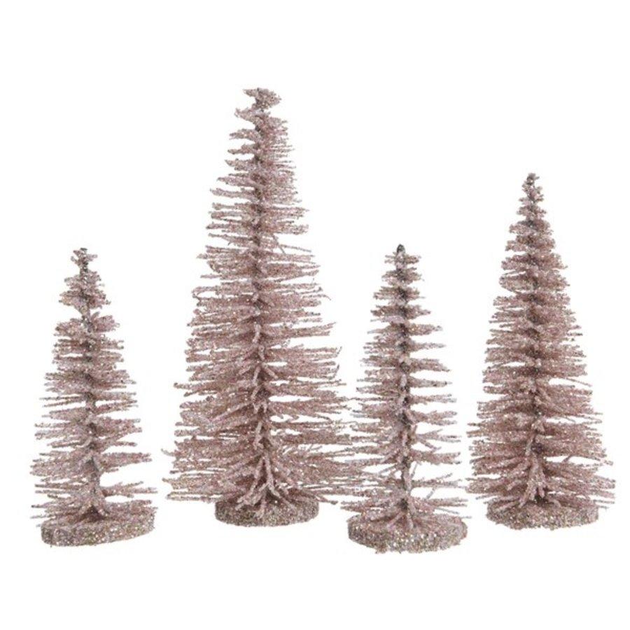 Set/4 bomen plastic glitter poederroze-1