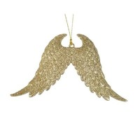 Vleugels plastic glitter met hanger
