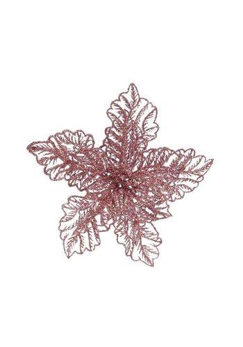 Decoris Poinsettia op clip, poederroze
