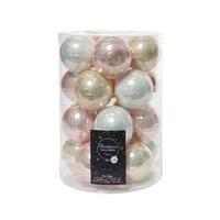 Set/20 glazen kerstballen dia 6cm mix parel/wit/roze