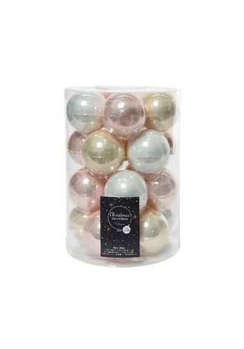 Decoris Set/20 glazen kerstballen dia 6cm mix parel/wit/roze