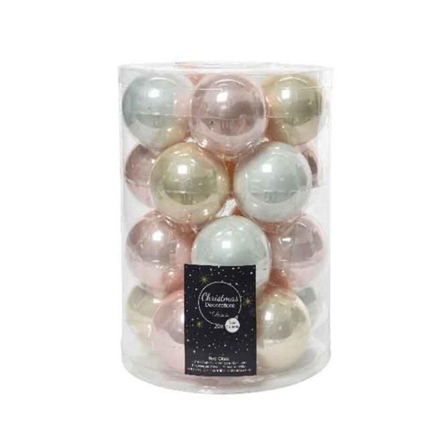 Set/20 glazen kerstballen dia 6cm mix parel/wit/roze-1