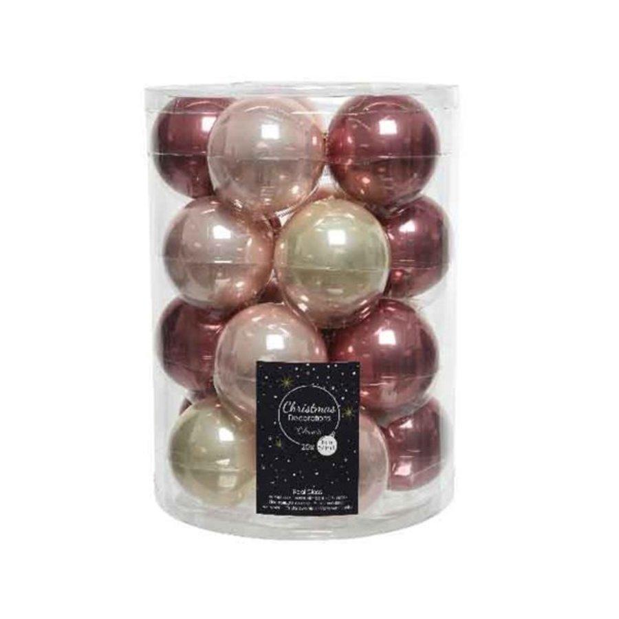 Set/20 glazen kerstballen dia 6cm mix parel/roze/donkerroze-1