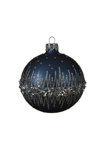Kerstbal glas bewerkt dia 8cm /6 night blue
