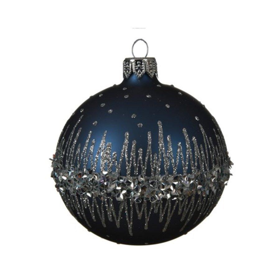 Kerstbal glas bewerkt dia 8cm /6 night blue-1