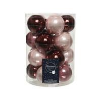 Set/20 glazen kerstballen dia 6cm, oxblood/poederroze/velvet pink