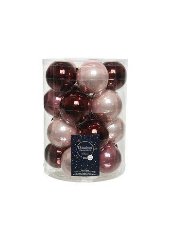 Decoris Set/20 glazen kerstballen dia 6cm mix oxblood/poederroze/velvet pink